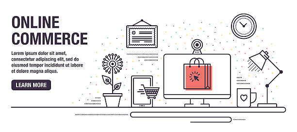 online shopping - website infographics stock illustrations, clip art, cartoons, & icons