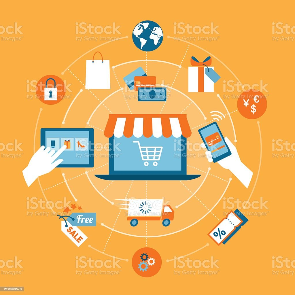 Online shopping vector art illustration