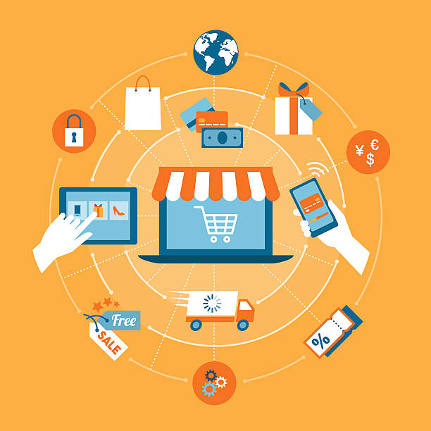 online shopping - e commerce stock illustrations, clip art, cartoons, & icons