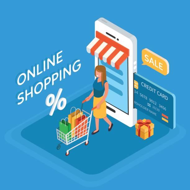 illustrations, cliparts, dessins animés et icônes de shopping en ligne - commerce électronique