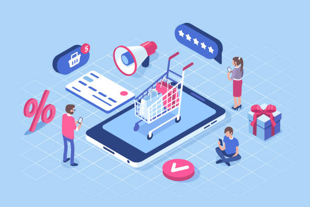 online shopping Online shopping concept with characters. Can use for web banner, infographics, hero images. Flat isometric vector illustration isolated on white background. e commerce stock illustrations