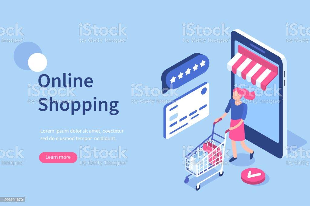 Online shopping vector art illustration