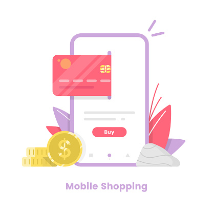 Online Shopping Vector Illustration. Credit Card, Coins and Shopping Vector Design.