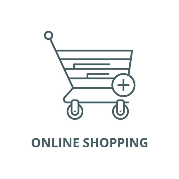 online alışveriş vektör hattı simgesi, doğrusal kavramı, anahat işareti, sembol - sale stock illustrations
