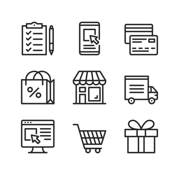 Online shopping vector line icons. Ecommerce, e-commerce, online retail business, electronic commerce concepts. Simple outline symbols, modern linear graphic elements collection. Premium quality. Vector thin line icons set vector art illustration
