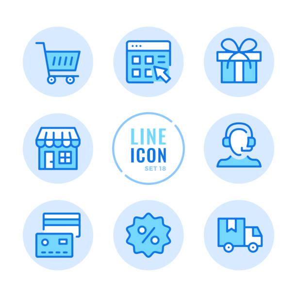 stockillustraties, clipart, cartoons en iconen met online winkelen vector lijn iconen set. winkel, klantenservice, levering, korting, winkelwagentje schets symbolen. lineaire, dunne lijnstijl. eenvoudige stroke schets grafische elementen voor web design, websites, mobiele app. ronde iconen - webshop