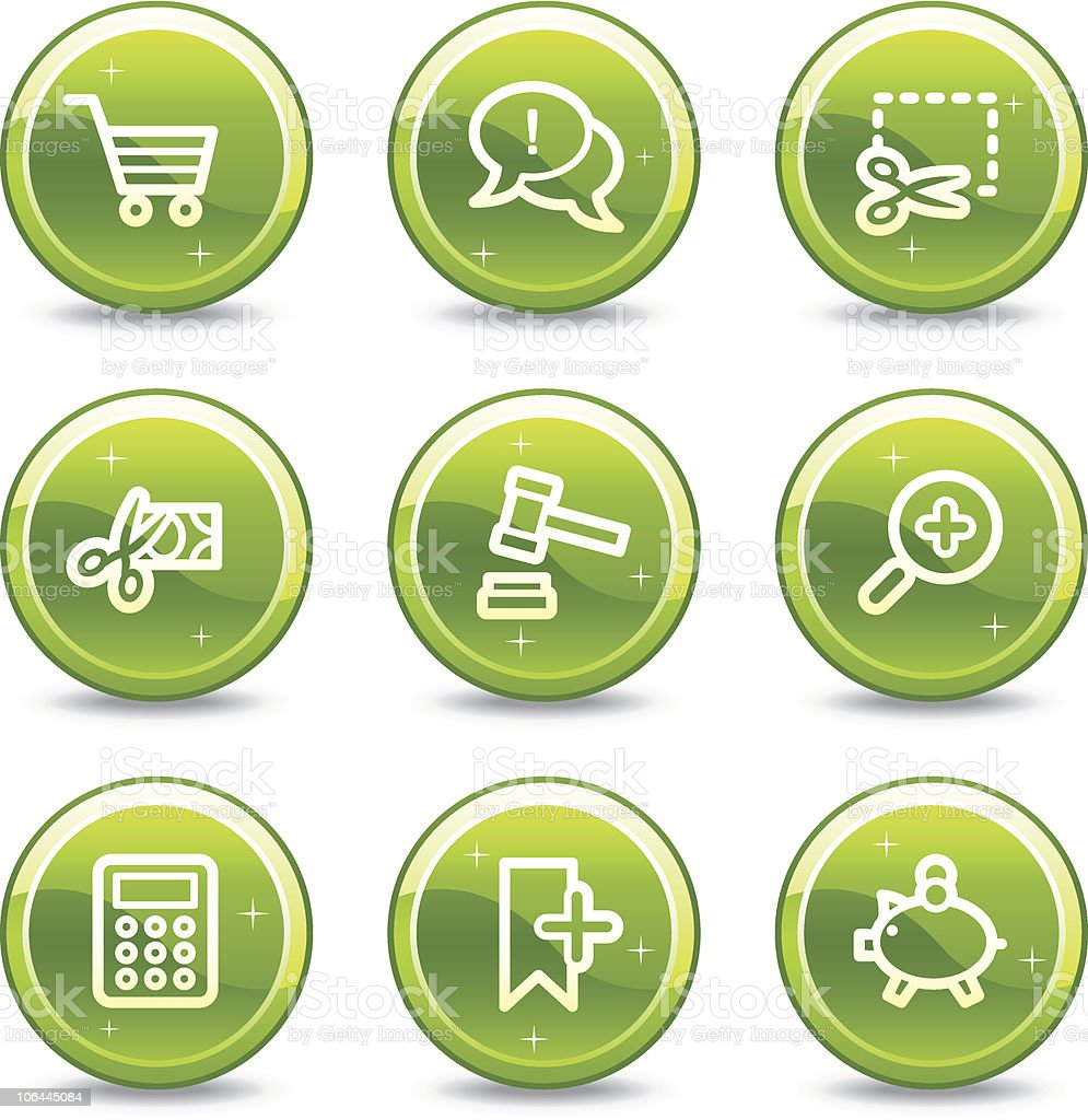 On-line shopping web icons, green glossy circle buttons series royalty-free stock vector art