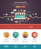 Online shopping website header banner with webdesign elements