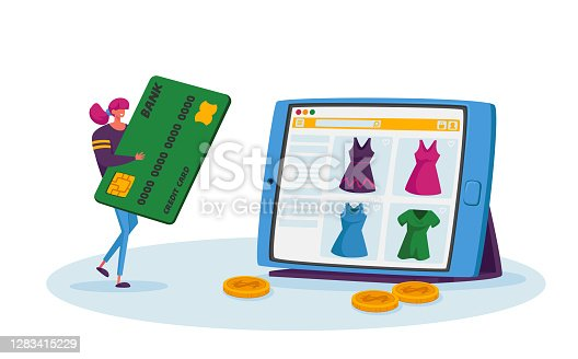 istock Online Shopping, Wireless Payment Concept. Tiny Female Customer Character with Credit Card Buying Goods at Huge Gadget 1283415229