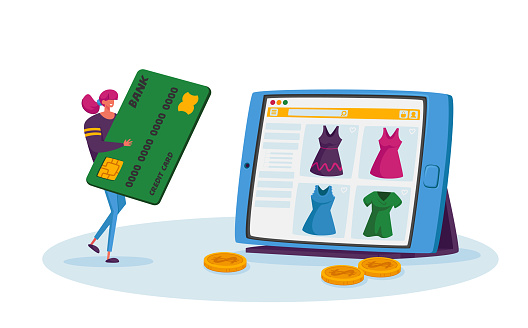 Online Shopping, Wireless Payment Concept. Tiny Female Customer Character with Credit Card Buying Goods at Huge Gadget Screen. Digital Purchase, Internet Store Order. Cartoon Vector Illustration