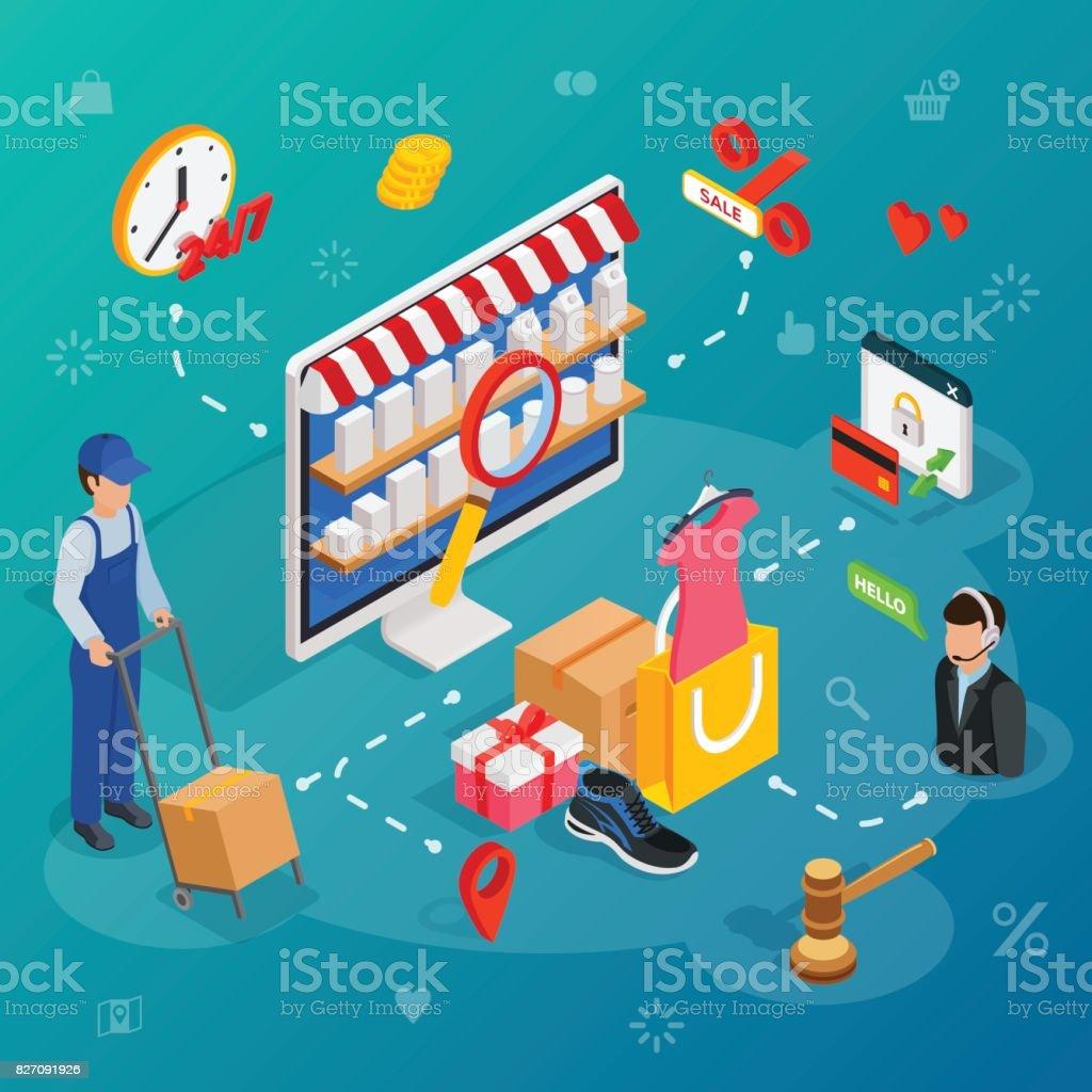 Online-shopping mit Lieferservice und Kunden-Support-Chat-Service. – Vektorgrafik
