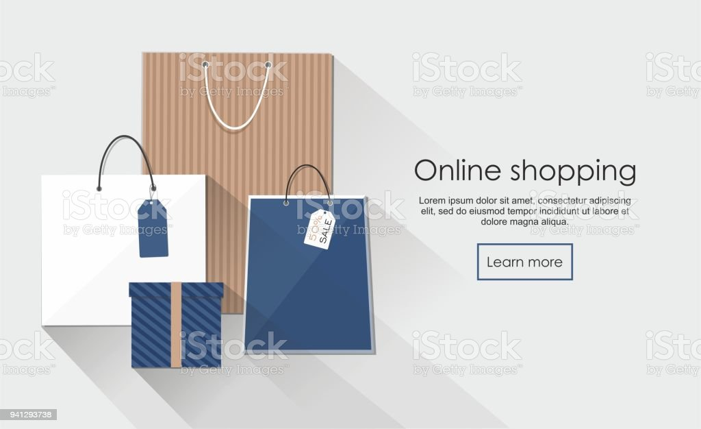 106eb626 Online shopping with group of shopping bags royalty-free online shopping  with group of shopping