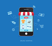 istock Online shopping with smartphone. E-commerce concept. Vector illustration 1179101263