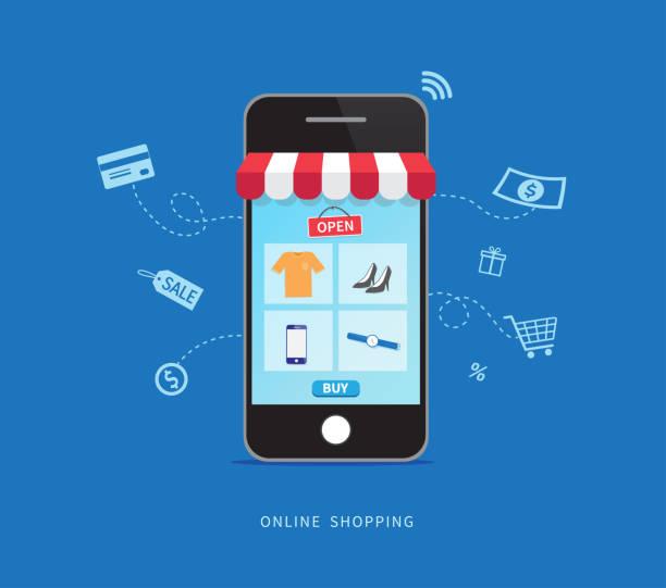 zakupy online ze smartfonem. koncepcja handlu elektronicznego. ilustracja wektorowa - handel detaliczny stock illustrations