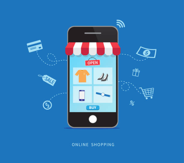 Online shopping with smartphone. E-commerce concept. Vector illustration Online shopping with smartphone. E-commerce concept. Vector illustration e commerce stock illustrations