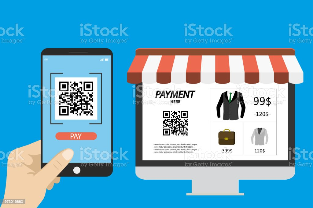 Online Shoppinghand Holding Smart Phone With Qr Scanner App Stock