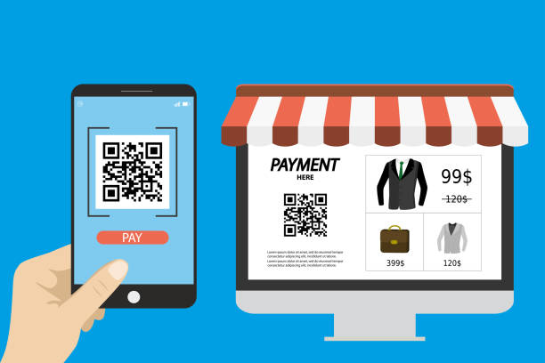online shopping,hand holding smart phone with qr scanner app - hand holding phone stock illustrations