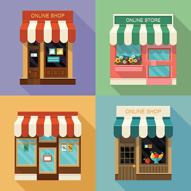 온라인 상점 아이콘 - small business stock illustrations