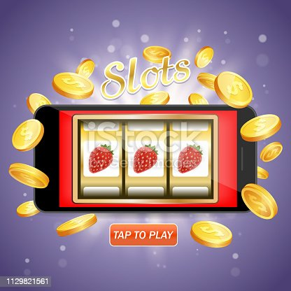 Online slots vector poster banner design template. Slot machine casino on mobile phone screen and flying golden dollar coins. Mobile slots concept.