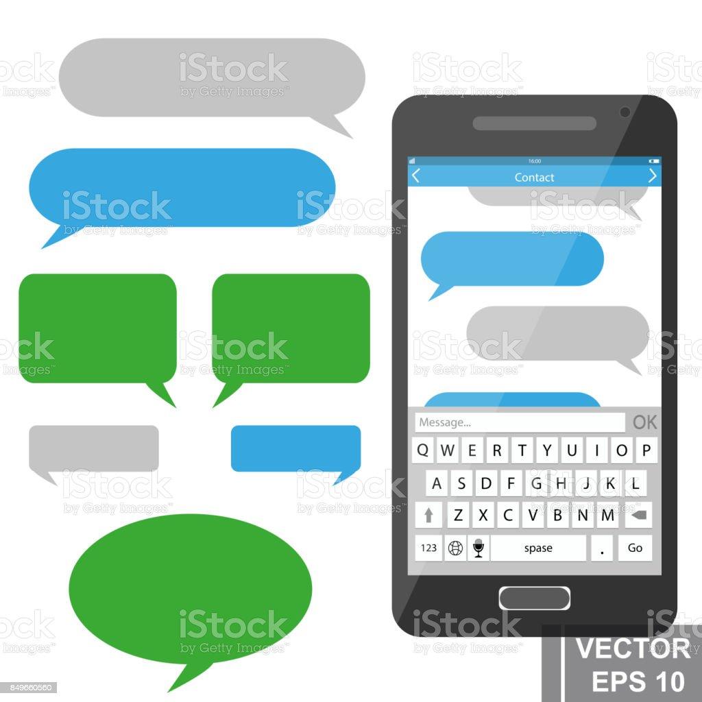 Online-Sms-Kommunikation über mobiles Endgerät. Verhandlungen. – Vektorgrafik