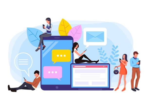 Online social communications flat graphic design banner poster vector concept illustration vector art illustration