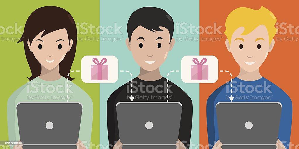 Online Social Games vector art illustration