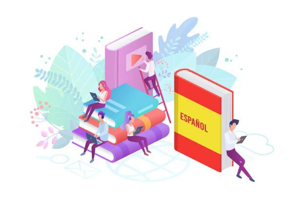 online spanisch sprachkurse flache vektor-illustration. - spanien stock-grafiken, -clipart, -cartoons und -symbole