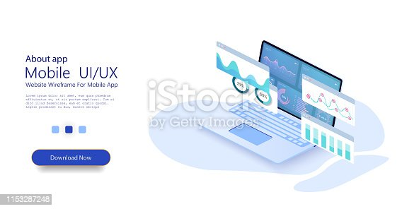 Online statistics and data Analytics.Digital money market, investment, finance and trading. Perfect for web design, banner and presentation. Isometric