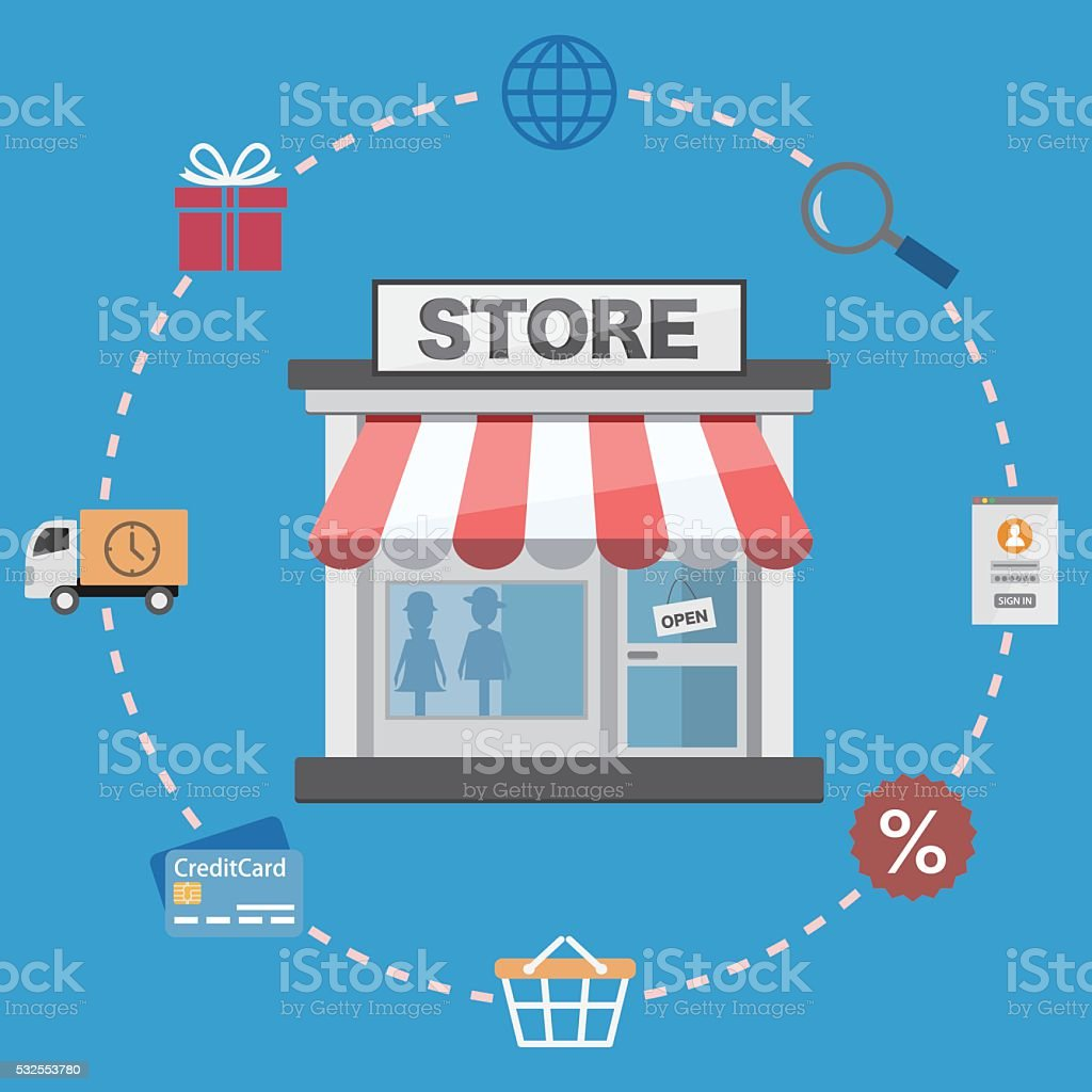 Online store and shopping icons vector art illustration