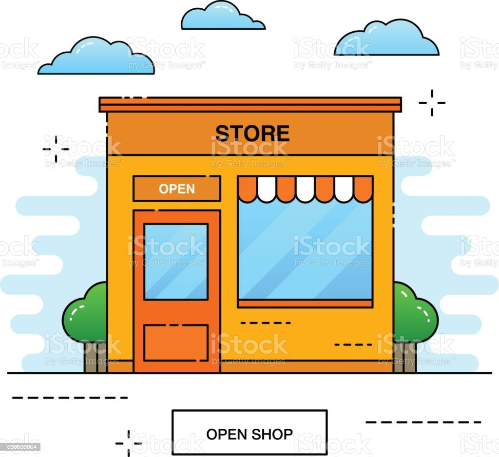 Color on online - Online Store Building Tree And Bushes With Clouds City Shop On Color Background
