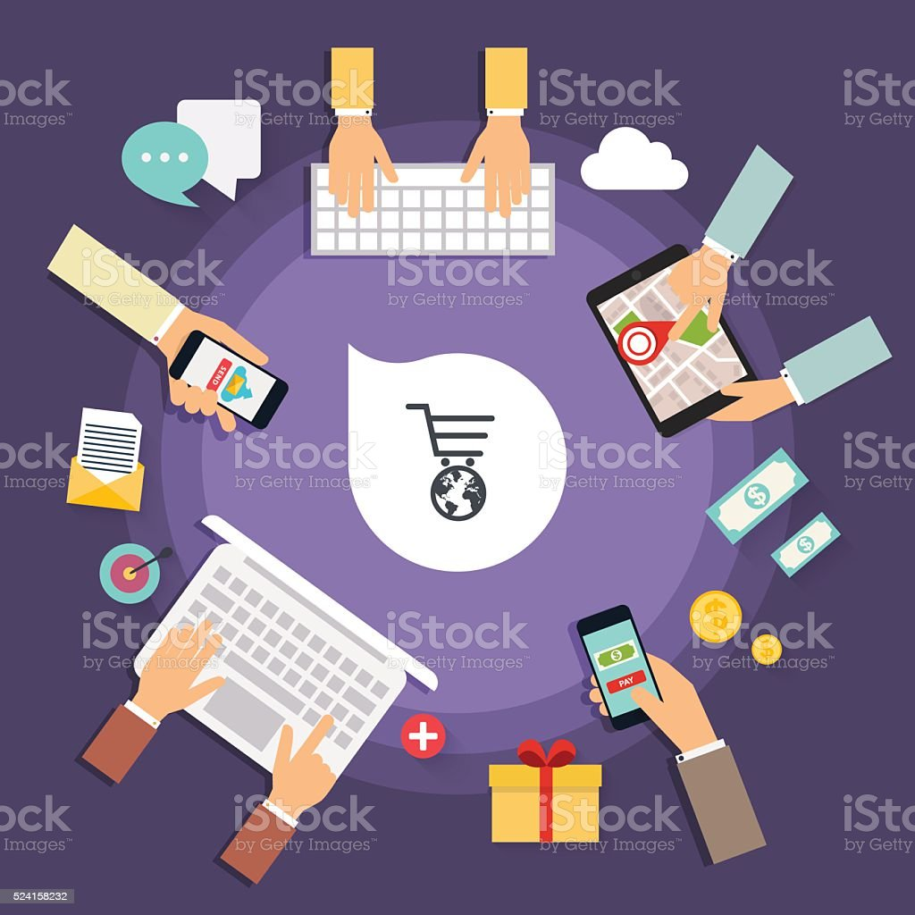 Online store concept. Icons for mobile marketing. Hand holding s vector art illustration
