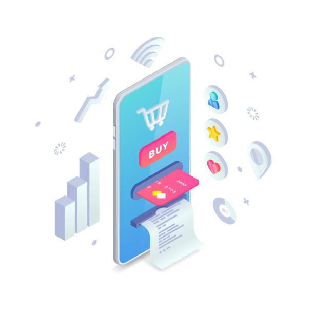online-shop-konzept. online-shopping isometrische kreative design-vorlage mit smartphone integrierten geldautomaten, warenkorb, knopf, kreditkarte, quittung und icons und grafiken rund um. e-commerce-vektor-illustration - kassenbon grafiken stock-grafiken, -clipart, -cartoons und -symbole