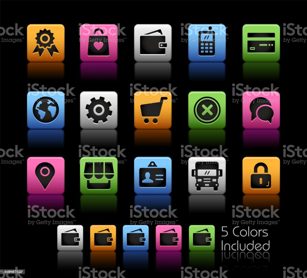 Online Store Icons Color Box Stock Vector Art   More Images of Black ... 79fa302a61