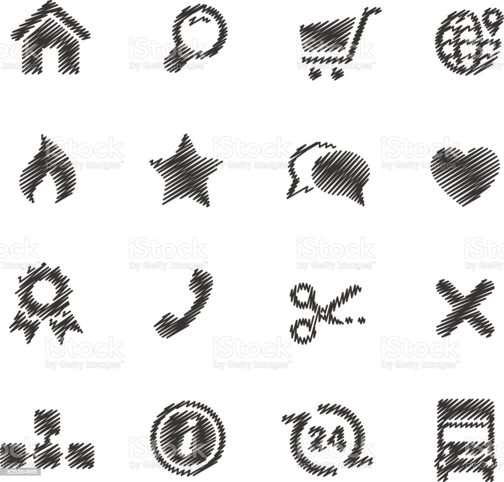 Online Store Icons // Scribble series vector art illustration