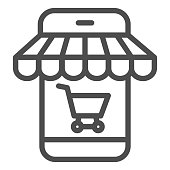 Online store in smartphone line icon, shopping concept, phone online store sign on white background, Mobile phone with shopping cart icon in outline style for mobile, web. Vector graphics