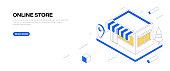 Online Store Isometric Banner Design