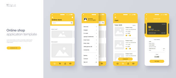 online store mobile app template. ui, ux, gui design elements. shopping application wireframe. user interface kit isolated on grey background. online shop website concept. vector eps 10. - graficzny interfejs użytkownika stock illustrations