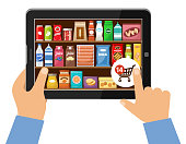 Online store of food concept. Vector illustration
