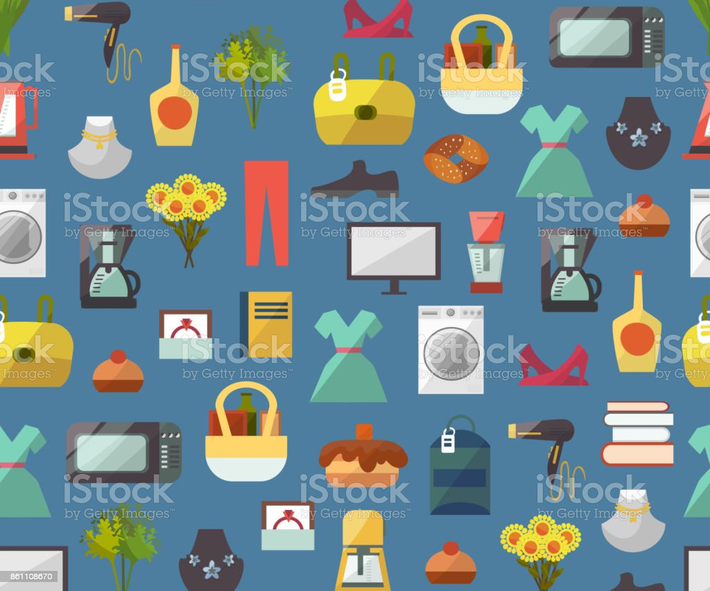Online Store Shop Website Clothes And Goods Shopping Vector Seamless  Pattern Background Illustration Stock Illustration - Download Image Now -  iStock