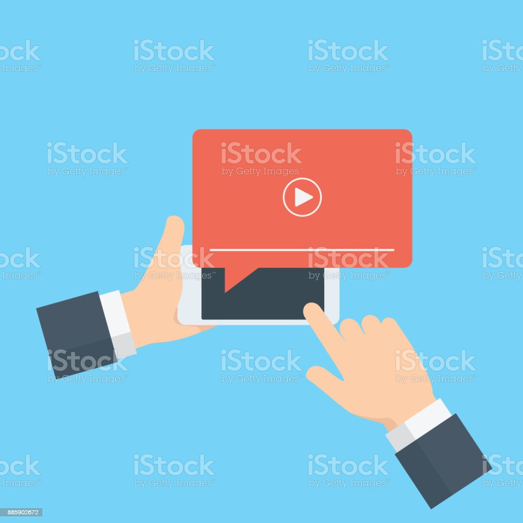 Online streaming, live streaming illustration. Hand holding mobile phone with streaming media on screen vector art illustration