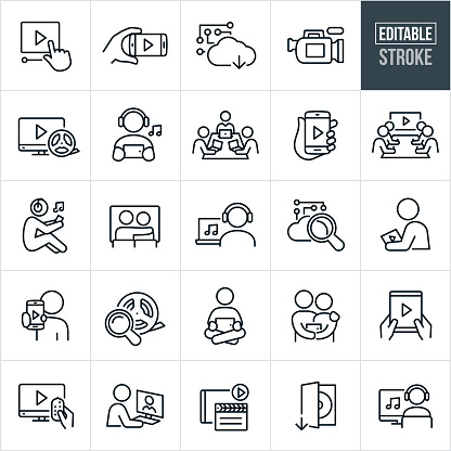 A set of online streaming icons that include editable strokes or outlines using the EPS vector file. The icons include a video playhead, video streaming on mobile phone, cloud based streaming, video camera, clapper board, person streaming music on smartphone, workers on laptops at table streaming data, online streaming from smartphone, business people streaming a video conference, couple watching a movie being streamed, person streaming music on laptop, person streaming a movie, computer router, person streaming movie on tablet pc, streaming a movie to a television, film roll, movie download and a person streaming music on a desktop computer.