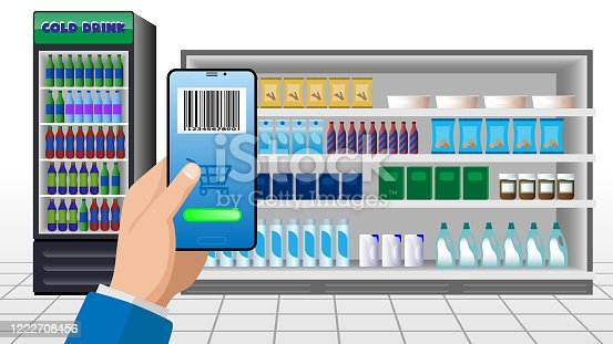 890476604 istock photo Online supermarket concept.  hand holding smartphone using shopping app  . vector image . 1222708456