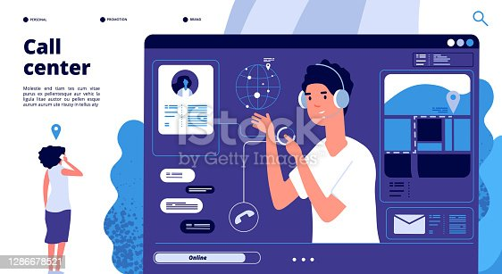 Online support concept. Customers in call center chat with operator, consultant helps client. 24x7 support vector landing page. Illustration operator support, help chat for customer