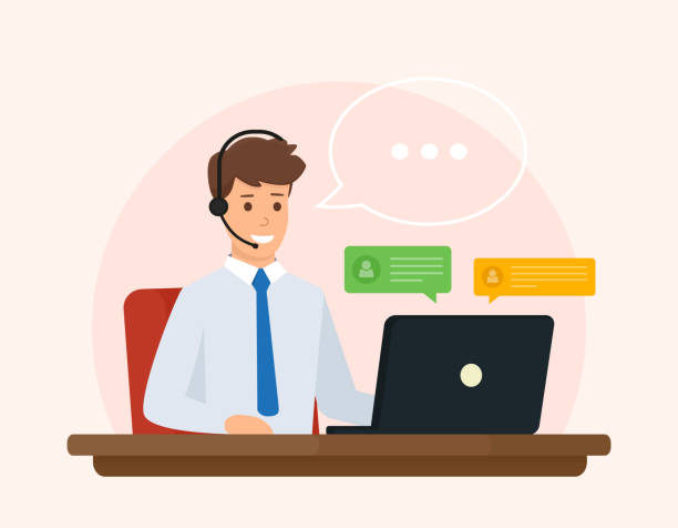 online support, operator of call center answers questions a client. online customer service concept. vector illustration design. - call centre stock illustrations