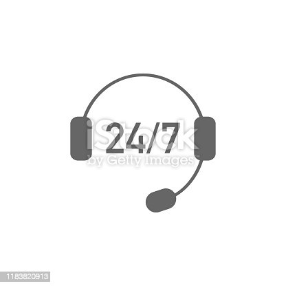 Online support service assistant sign. Headset vector illustration