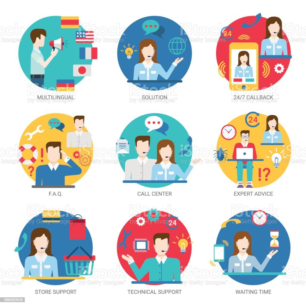 Online support service people staff workers icon set flat style vector. Multilingual multi language solution 24/7 callback FAQ call center expert advice store technical waiting time. vector art illustration