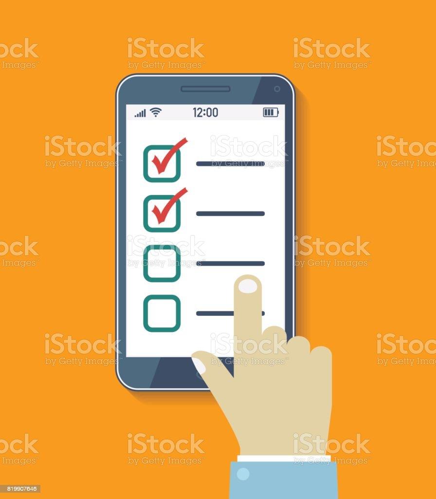 Encuesta En Línea Lista De Verificación Concepto De Negocio Móvil ...