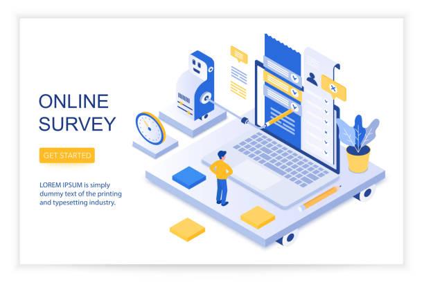 Online survey, checklist of questions, questionnaire, social management concept 3d isometric landing website page template vector illustration. vector art illustration