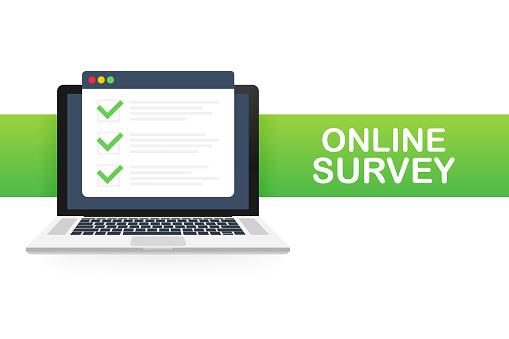 Online survey, checklist, questionnaire icon. Laptop, Computer screen. Feedback business concept. Vector illustration.