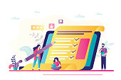 Online survey concept banner. Various people answer questions and fill out questionnaire. Technology internet quiz or survey on laptop screen. Checklist template. Trendy vector illustration